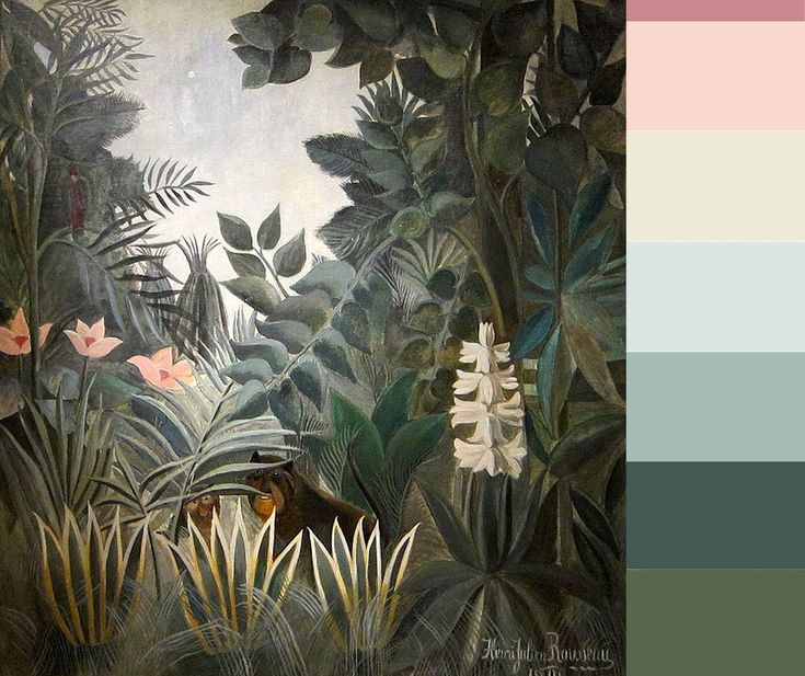 Rousseau has put me in a green mood - From top down: Benjamin Moore Toasted Mauve - Benjamin Moore Pale Pink Satin - Benjamin Moore Olive Tint - Benjamin Moore In Your Eye - Benjamin Moore Rhine River - Benjamin Moore Crisp Romaine - Benjamin Moore Sweet Basil