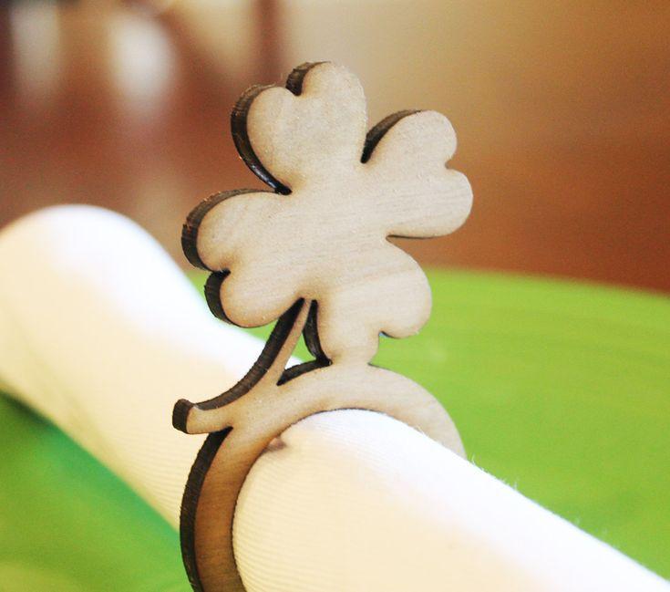 Shamrock Wood Napkin Rings St. Patricks's Day Laser Cut Set of 4 8 12