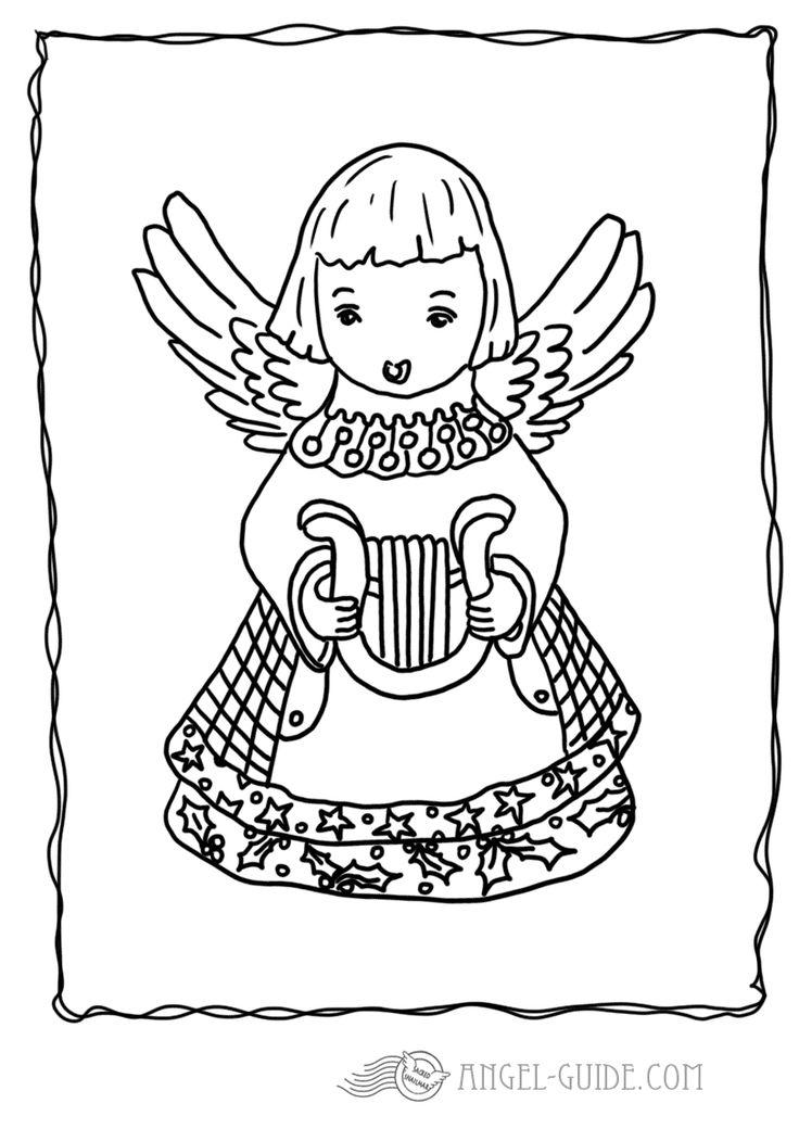 Angel Christmas Coloring Page - Angel with Harp Picture 5 A little angel playing a beautiful tune on a harp, can you hear the sweet sound of the angel harp strings for our german visitors : kostenlose Malvorlagen mit Engeln, Weihnachtsausmalbilder fuer Kinder zum Herunterladen Ausmalbild mit Engel zum Weihnachtsbasteln, Bastelvorlage, Engel Vorlage zum ausdrucken