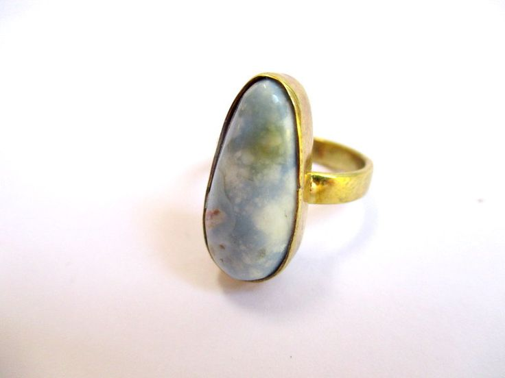 Brass and Blue Opal teardrop ring by Picossa on Etsy
