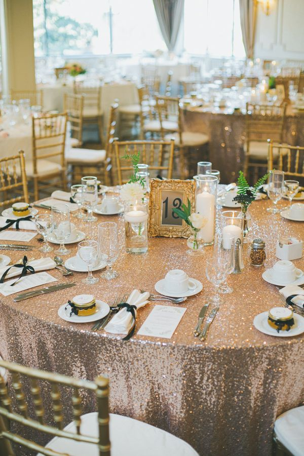 get the sparkle with champagne glitz sequin tablecloths
