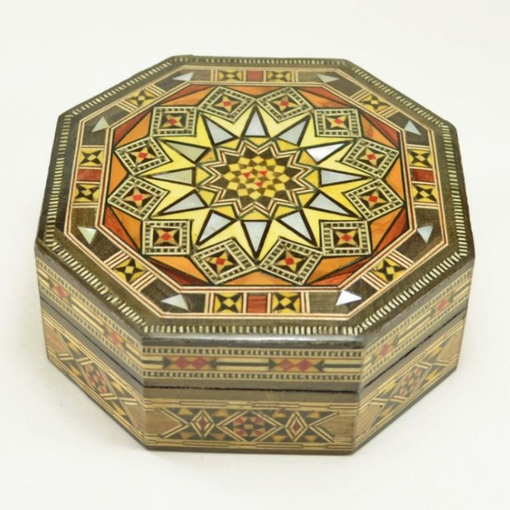 Wood Inlay Box, handcrafted wooden mosaic decorative box