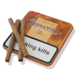 Neos Selection Cappuccino Cigarillos: A mini cigarillo cigar, made in Belgium using a blend of Burley and Virginia tobaccos wrapped in a Besuki wrapper from the island of Java with the Cappuccino aroma, gives these filter cigarillos a great flavour.