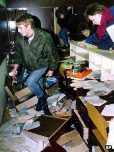 Demonstrators storm the Stasi HQ
