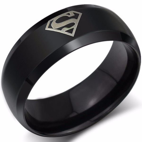 Fashion Stainless Superman Ring In 18K Gold Plate, Silver Plate or Black Gun