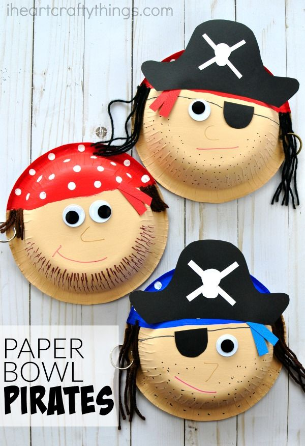 Awesome paper bowl pirate craft for kids. Great for a summer kids craft, kids pirate craft, preschool pirate theme and pirate activities for kids.