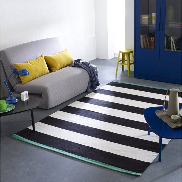 Blut Woven Striped Cotton Rug La Redoute Interieurs