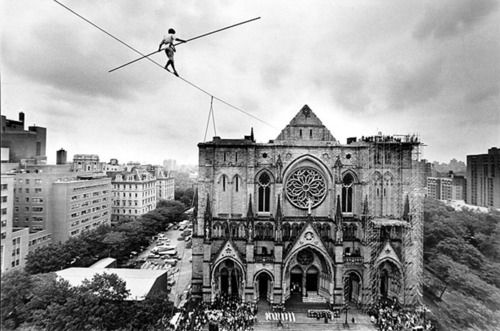 Eight years after his walk between the Twin Towers, Philippe Petit opened the  dedication of St. John The Divine Cathedral in New York City.