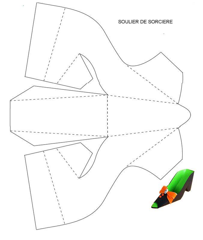 gabarit de soulier en papier à plier et colorier (boîte).THEME PRINCESSE FETES POUR LES ENFANTS SAGES.. - 1 et 2 et 3 DOUDOUS * PATRONS* PATTERNS * GABARITS FETE A THEMES POUR ENFANTS