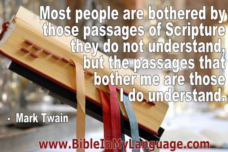 Most people are bothered by those passages of Scripture they do not understand, but the passages that bother me are those I do understand. -  Mark Twain