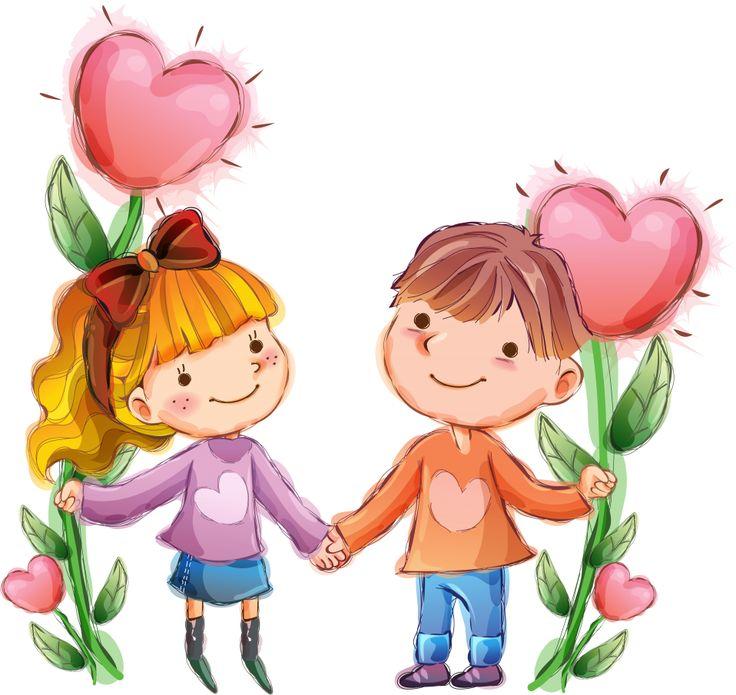 Рисунок, девочка, мальчик, сердечки