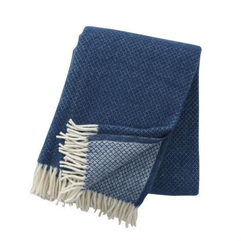 Manta de lana Vega - azul petróleo - Klippan Yllefabrik