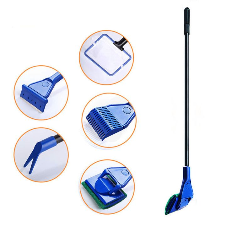 Aquarium Cleaner 5 in 1 Aquarium Tank Clean Set Fish Net Gravel Rake Algae Scraper