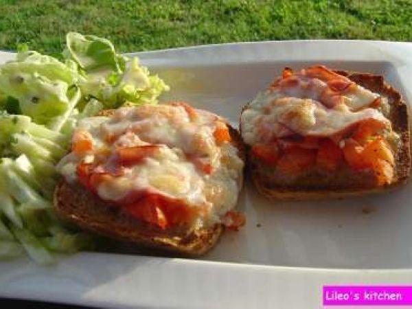 Recette Entrée : Tartines bacon-mozza par Bene68