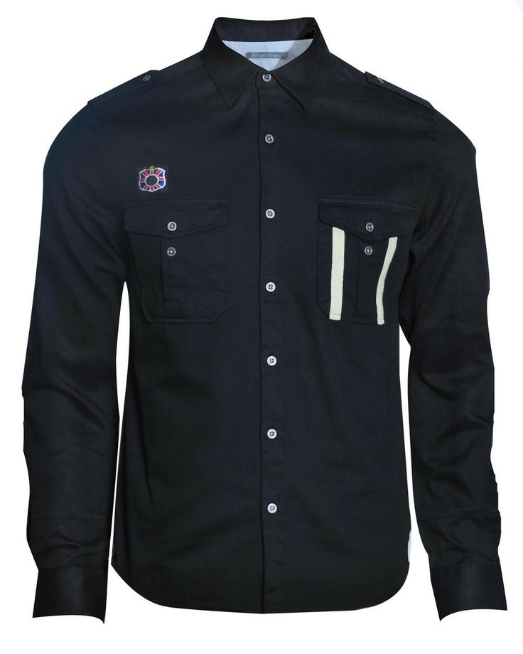 This military-inspired shirt is constructed with a cotton twill and features a knitted tape stripe on the pleated chest pocket and embroidered badge. Complete with button down epaulettes, this relaxed fitting garment is designed with a concealed inside 'dinner money' pocket. Garment is finished with signature hawk embroidery and antique-effect buttons.