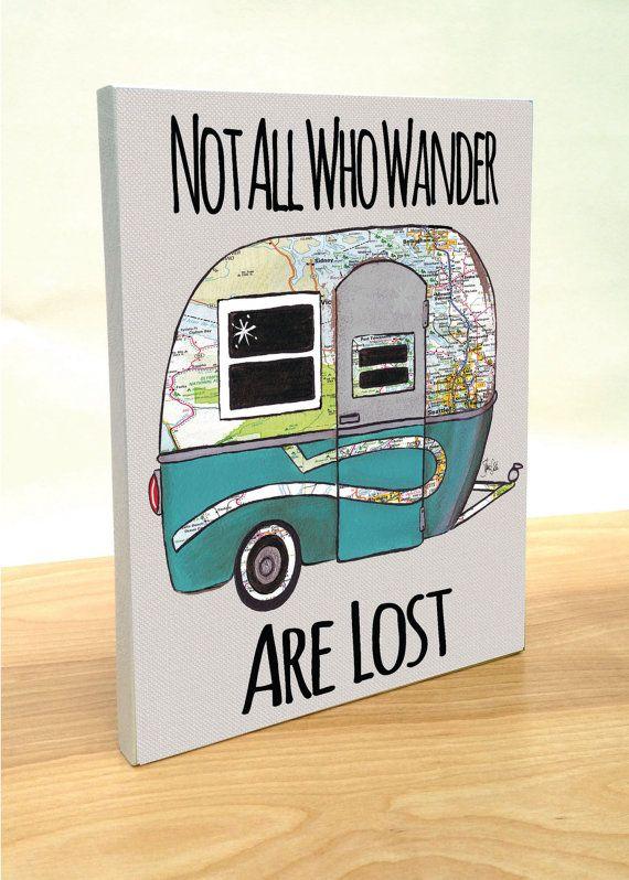 Travel Trailer Boler map art block print. by FatDragonfly on Etsy