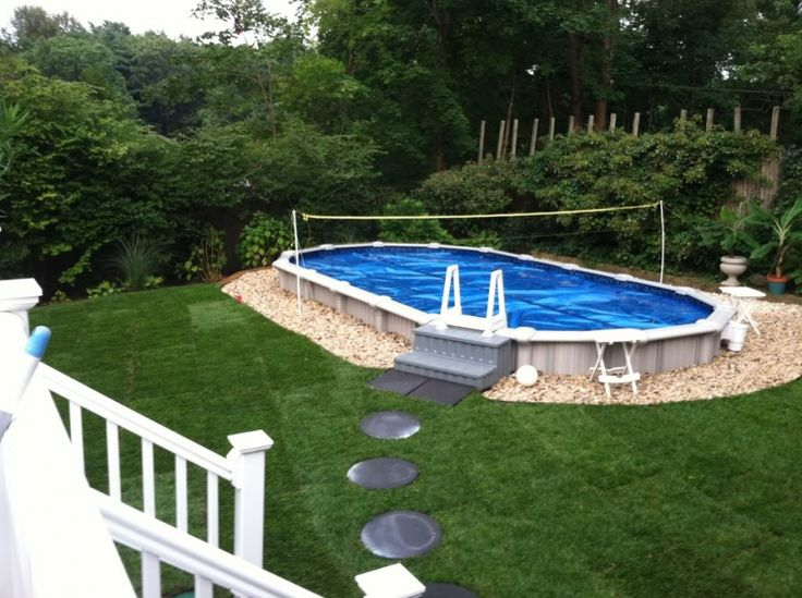 94 best images about above ground pool landscaping on for Half in ground pool ideas