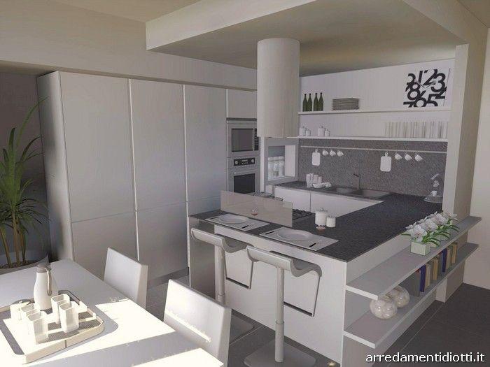 Cucina angolare con penisola moderna dream diotti a f for Il loft arredamenti