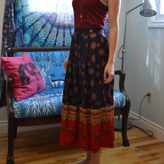 Eearly 1970's Vintage High Waisted, Long Pleated Skirt