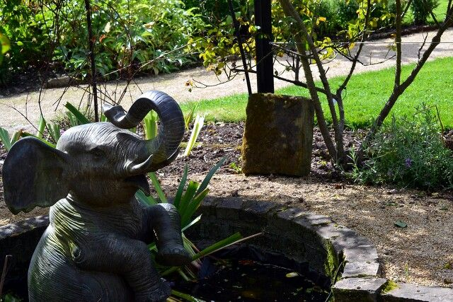 Elephant statue having fun in a pond