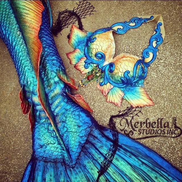 Timeline Photos - Merbella Studios Inc; blue; iridescent; cream; yellow; golden; green; teal; orange
