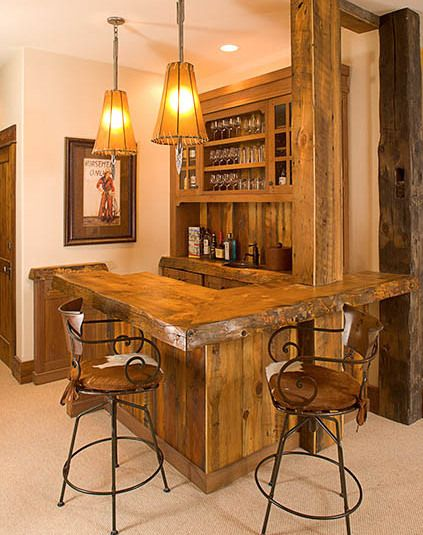 Rustic western saloon bar in your home! May try to do something similar as a kitchen in the apartment