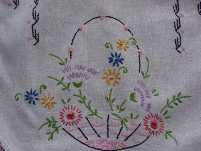 vintage flower basket - embroidery