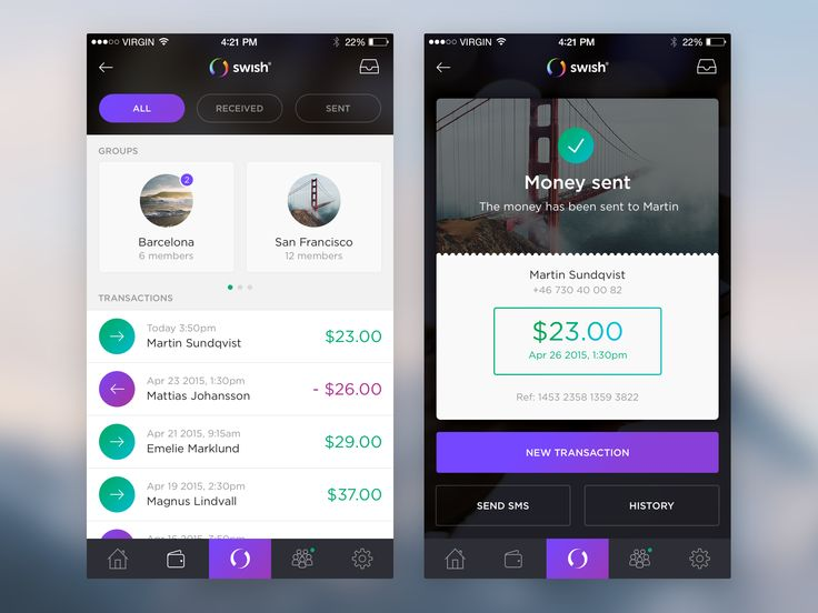 Stylish banking app. Like the idea of groupping receivers, just not sure if it's realistic.