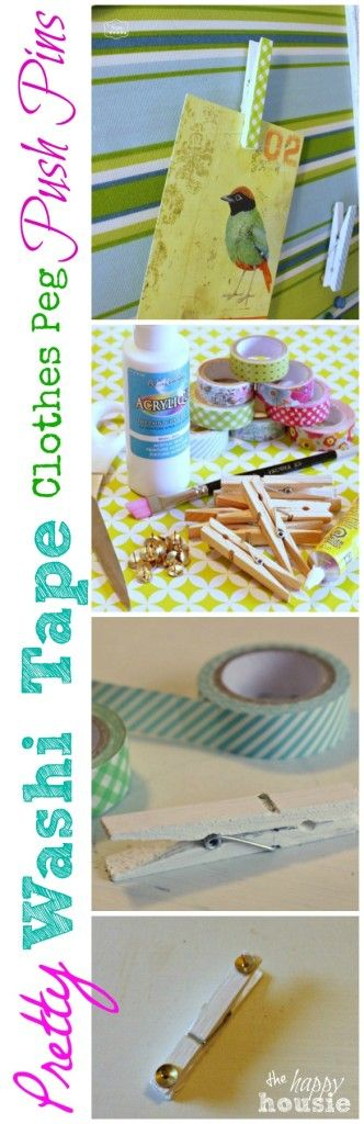 Pretty Washi Tape Clothes Peg Push Pins