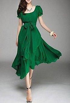 Round Puff Sleeve Aysm Hem Chiffon Midi Dress