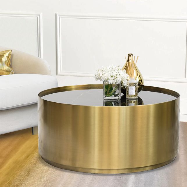 Marc Black Marble Gold Coffee Table Round Drum Base Gold Coffee Table Marble Round Coffee Table Buy Coffee Table Cheap gold coffee table