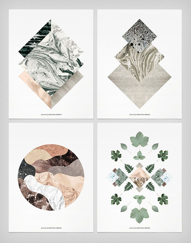 Kristina Krogh is a Danish graphic designer and artist who combines different materials and their surfaces to create fascinating designs that you can buy as prints.