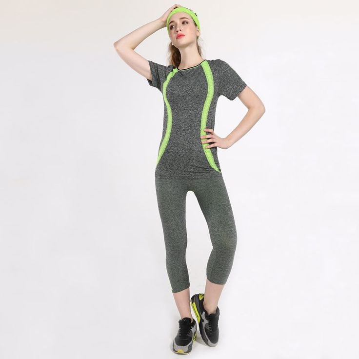 Yoga Sports Suit For Women Jogging T-Shirts Capri Tights Running Top Training Pants Gym Tracksuit 2 Piece Yoga Sets -- AliExpress Affiliate's buyable pin. View the item in details on www.aliexpress.com by clicking the VISIT button #Yogapants