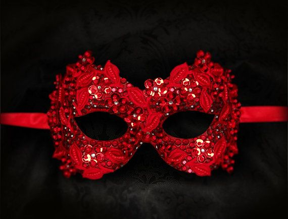 Sequined Red Masquerade Mask With Rhinestones And by SOFFITTA