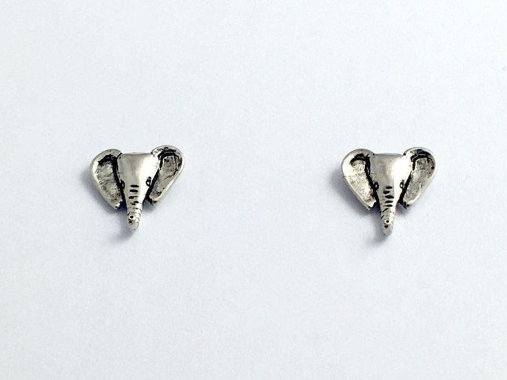Sterling Silver and Surgical Steel  elephant head stud earrings- elephants,