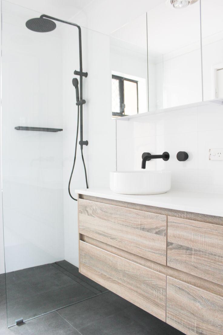 Wayfair Bathroom Vanity >> Black Tapware Walk In Shower White Bathroom + Black Tapware Wood Grain Vanity On the Ball ...