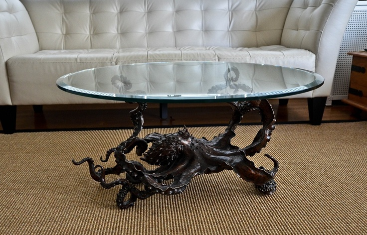 'Cephalopod' Bronze octopus coffee table by Kirk McGuire Sculpture
