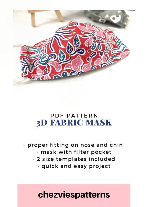 Pdf Pattern 3 D Fabric Mask With Filter Pocket Dust Mask Sewing