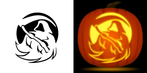 Grim reaper pumpkin carving stencil. Free PDF pattern to download and print at http://pumpkinstencils.org/download/grim-reaper-pumpkin-stencil/