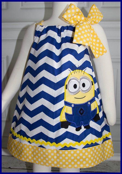 NEW Super Cute Despicable Me Minion Applique dress Blue Chevron and Yellow polka dot