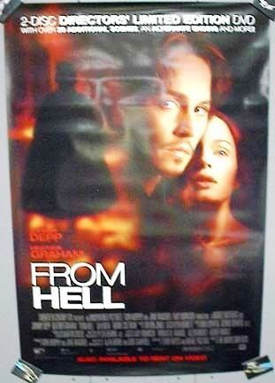 From Hell Movie Poster 27x40 Used Joanna Page, Paul Rhys, Ian McNeice, Annabelle Apsion, Roger Frost, Johnny Depp, Simon Harrison, David Fisher, Peter Eyre, Estelle Skornik, Lesley Sharp, Robbie Coltrane, Heather Graham