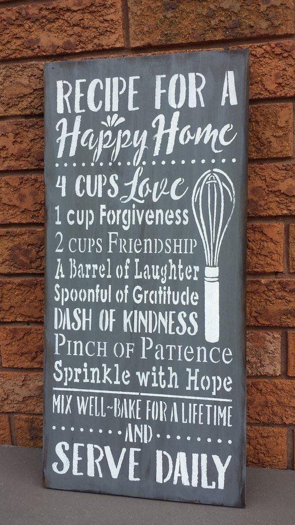 Recipe For A Happy Home Metal Sign