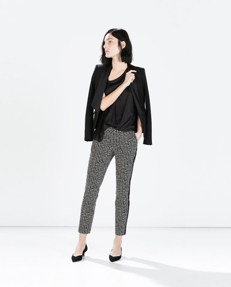 Image 1 of PRINTED TROUSERS WITH SIDE DETAIL from Zara