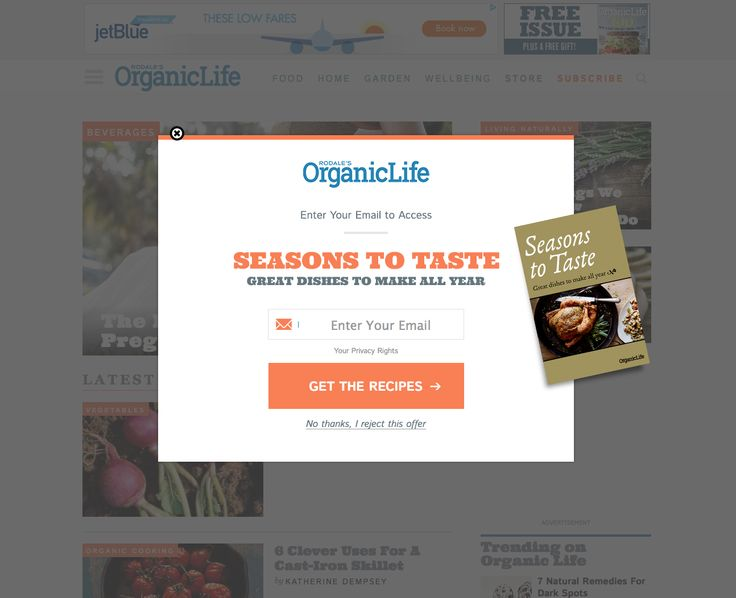 Example of Modal Window and popup from Organic Life. http://www.rodalesorganiclife.com/wellbeing/the-best-worst-teas-for-pregnancy