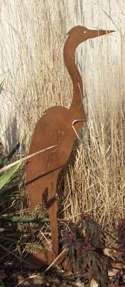 Fischreiher auf Platte Edelrost Reiher Rost Gartenfigur