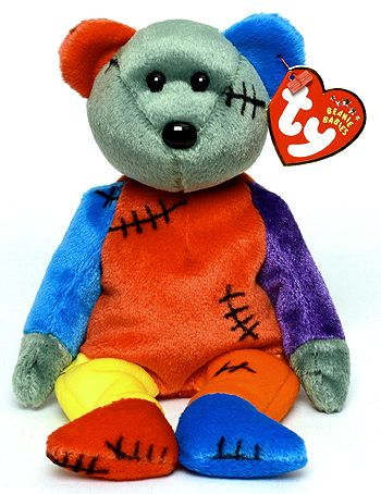 Frankenteddy (blue left, red right foot) - bear - Ty Beanie Babies