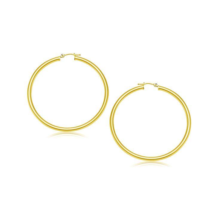 14K Yellow Gold Polished Hoop Earrings (25 mm)