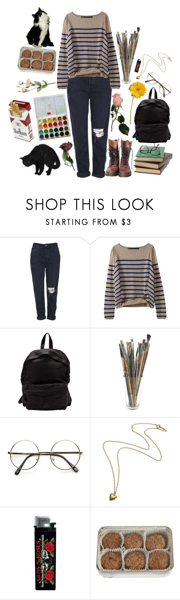 """""""pain"""" by catastr0ph3 ❤ liked on Polyvore featuring Topshop, Officine Creative and FREDS at Barneys New York"""
