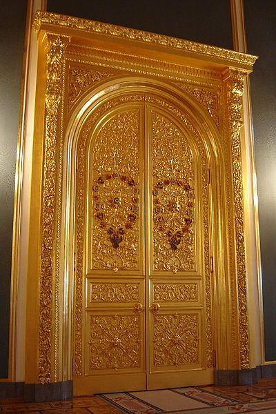 Great Kremlin Palace doors. Moscow Kremlin, Russia.