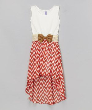 Loving this Coral & White Chevron Belted Hi-Low Dress - Girls on #zulily! #zulilyfinds